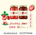 strawberry jam bottle design... | Shutterstock .eps vector #312375446
