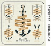 vintage nautical anchor and... | Shutterstock .eps vector #312383528