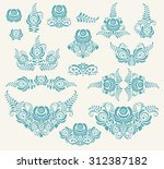 blue vector floral elements in... | Shutterstock .eps vector #312387182