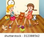 girls fighting over teddy bear... | Shutterstock .eps vector #312388562