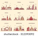 Stock vector europe skylines detailed silhouette berlin vienna moscow venice paris rome london amsterdam 312393092