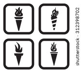 torch icon in four variations | Shutterstock .eps vector #312398702