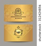 gold vip cards with floral... | Shutterstock .eps vector #312424856