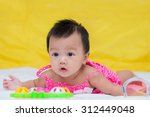 portrait of cute baby girl on... | Shutterstock . vector #312449048