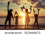happy family standing on the... | Shutterstock . vector #312464672