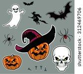 halloween  set vector... | Shutterstock .eps vector #312469706