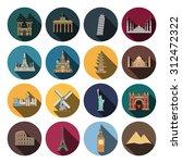 16 flat landmark icons | Shutterstock . vector #312472322