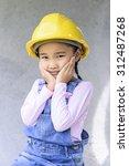 little civil engineer girl... | Shutterstock . vector #312487268
