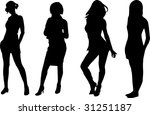 four girl black | Shutterstock .eps vector #31251187