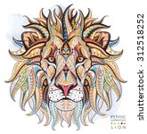 patterned head of the lion on... | Shutterstock .eps vector #312518252