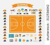 basketball icons set.flat... | Shutterstock .eps vector #312536042