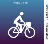 flat cyclist icon | Shutterstock .eps vector #312564836