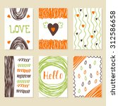 set of vintage cards with... | Shutterstock .eps vector #312586658