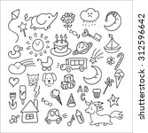 set of hand drawn doodle... | Shutterstock .eps vector #312596642
