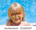girl with paint on his face in... | Shutterstock . vector #31260319