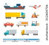 freight transport icons set.... | Shutterstock .eps vector #312604706