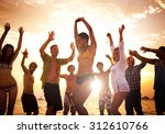 people celebration beach party... | Shutterstock . vector #312610766