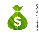 money bag icon made of green...