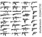 Gun Icons Set  Machine Gun ...