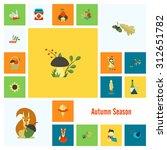 set of flat autumn icons.... | Shutterstock . vector #312651782