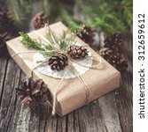 hand crafted gift on rustic... | Shutterstock . vector #312659612
