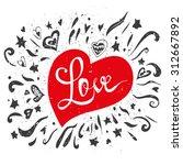 love   hand lettering red ... | Shutterstock .eps vector #312667892