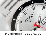 Small photo of BANGKOK, THAILAND - SEPTEMBER 03, 2015: Closeup logo of TISSOT on Tissot PRS 516 Automatic watch. Tissot is a luxury Swiss watchmaking company founded in Switzerland.