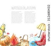watercolor autumn cartoon set.... | Shutterstock . vector #312680432