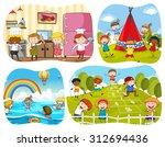 people in four different scenes ... | Shutterstock .eps vector #312694436