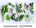 fresh green vegetables variety... | Shutterstock . vector #312700946