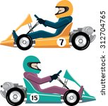 karting go cart race vehicle... | Shutterstock .eps vector #312704765