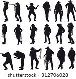 silhouettes of cowboy in... | Shutterstock . vector #312706028