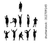 creative silhouettes of teenage ... | Shutterstock .eps vector #312709145