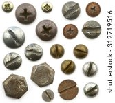 a pile of nuts bolts  screws...   Shutterstock . vector #312719516
