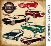 retro car icons.vintage car... | Shutterstock .eps vector #312739175
