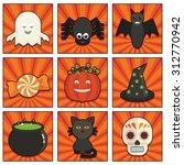 square orange sunburst icons... | Shutterstock .eps vector #312770942