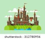 medieval castle. tower building ... | Shutterstock .eps vector #312780956