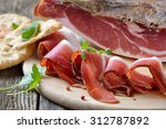 Small photo of Delicious South Tyrolean bacon, a regional specialty, prepared according to traditional recipes, often served with the Tyrolean crispy flat bread
