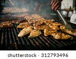 grilling meat with barbecue... | Shutterstock . vector #312793496