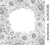 floral hand drawn zentangle... | Shutterstock .eps vector #312810188
