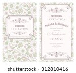 invitation card with flowers in ... | Shutterstock .eps vector #312810416