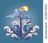 vector retro color anchor wave... | Shutterstock .eps vector #312817052