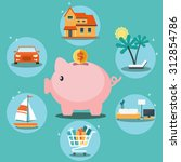 piggy bank and 6 icons  house ... | Shutterstock .eps vector #312854786