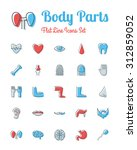 vector body parts icons set... | Shutterstock .eps vector #312859052