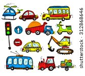 baby cars set. funny baby toys. ... | Shutterstock . vector #312868646