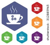 coffee cup icons set  in...