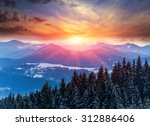Winter Scene With Sunset In...