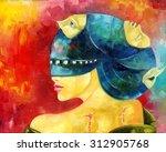 faceless fallen angel. oil... | Shutterstock . vector #312905768