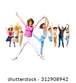 jumping together united... | Shutterstock . vector #312908942