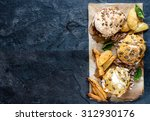burger with chopped meat ... | Shutterstock . vector #312930176